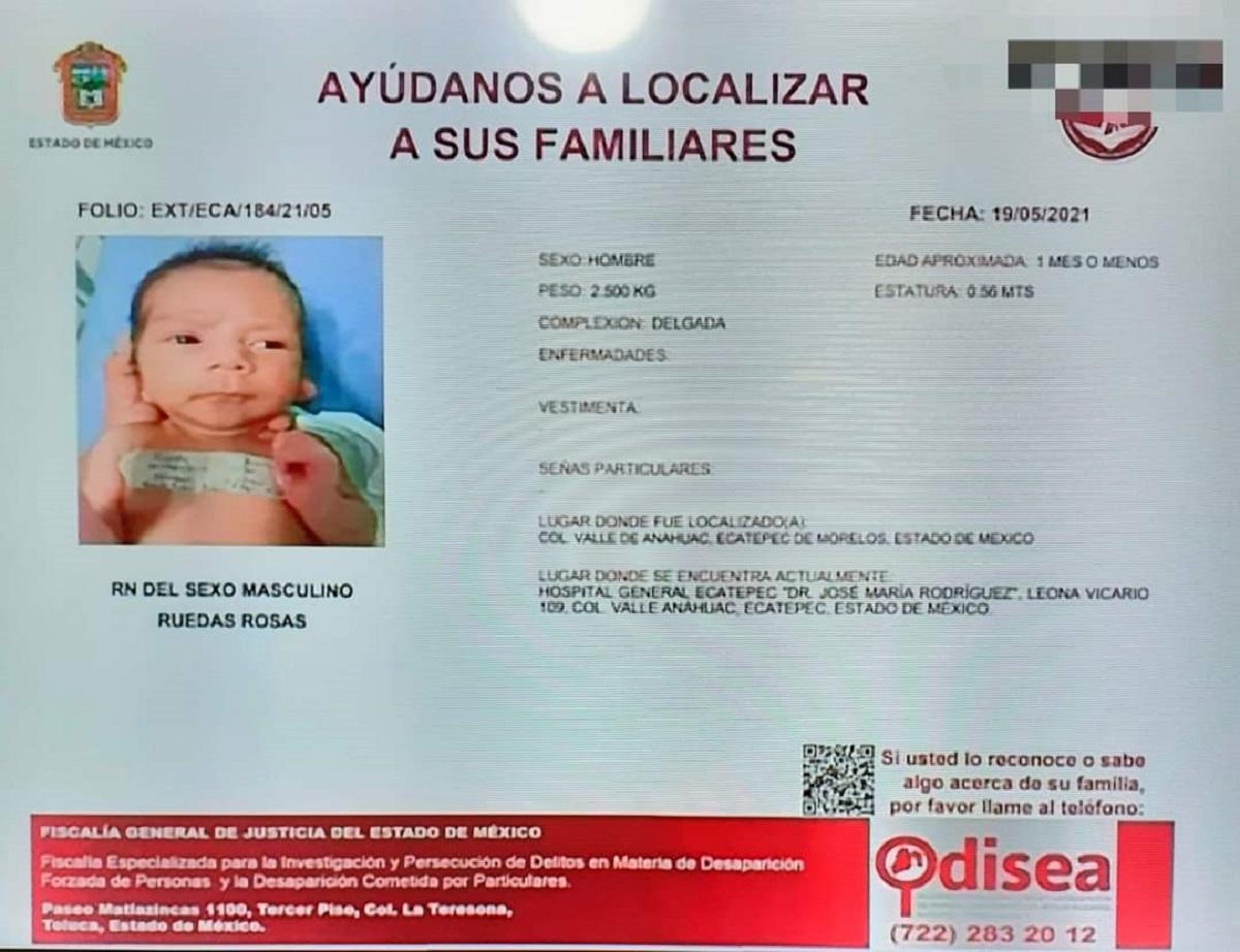 Ficha de búsqueda de bebé abandonado