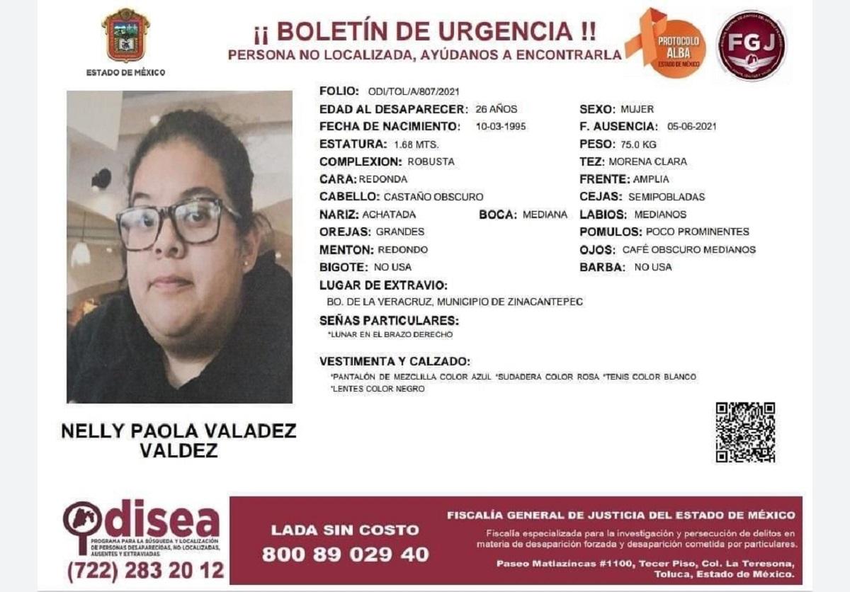 Ficha de búsqueda de Nelly Paola, quien desapareció hace 6 días