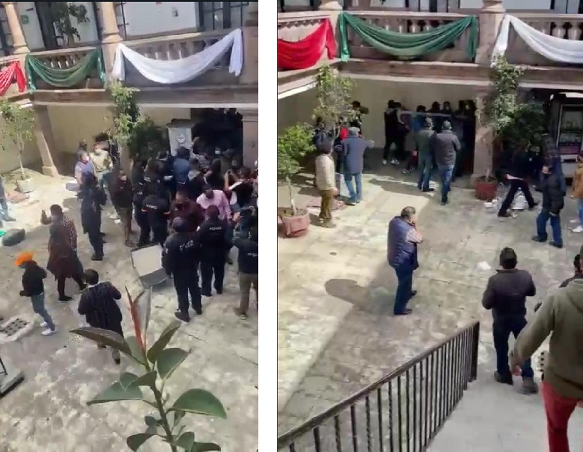 Agresiones en palacio municipal de Santiago Tianguistenco